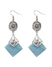 Fashion Dark Gray+light Blue Square Gemstone Pendant Decorated Simple Design  Alloy Korean Earrings