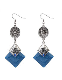 Fashion Dark Blue+anti-silver Square Gemstone Pendant Decorated Simple Design Alloy Korean Earrings