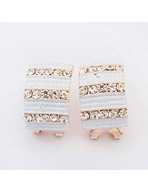 Elegant White Diamond Decorated Stripe Geometric Shape Design Alloy Stud Earrings