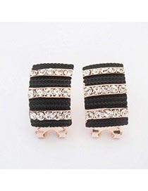 Elegant Black Diamond Decorated Stripe Geometric Shape Design Alloy Stud Earrings