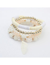 Fashion White Feather Decorated Multilayer Design  Plastic Korean Fashion Bracelet