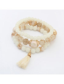 Fashion White Tassel Decorated Multilayer Design  Glass Korean Fashion Bracelet