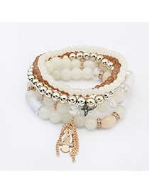 Fashion White Owl Pendant Decorated Multilayer Design  Glass Korean Fashion Bracelet
