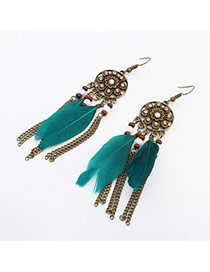 Retro Green+antique Gold Feather Decorated Flower Pattern Design  Alloy Korean Earrings