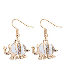 Sweet White Diamond Decorated Elephant Shape Design  Alloy Korean Earrings