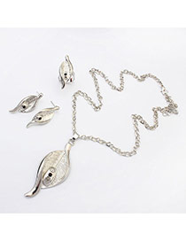 Fashion Silver Color Leaf Shape Pendant Decorated Simple Design  Alloy Jewelry Sets