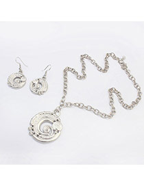 Fashion Silver Color Round Shape Pendant Decorated Simple Design  Alloy Jewelry Sets