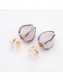 Sweet Gray Diamond & Candy Color Decorated Flower Shape Design Acrylic Stud Earrings