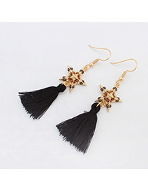 Fashion Black Beads Star Decorated Tassel Design Alloy Korean Earrings