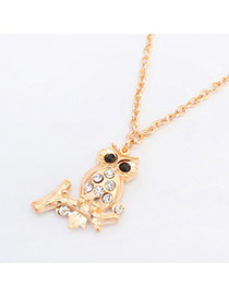 Lovely Gold Color Branch Decorated Owl Shape Pendant Desin Alloy Bib Necklaces