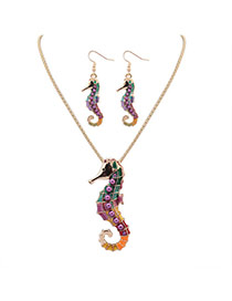 Cute Gold Color Sea Horse Shape Pendant Decorated Simple Design Alloy Jewelry Sets