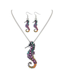 Cute Silver Color Sea Horse Shape Pendant Decorated Simple Design Alloy Jewelry Sets