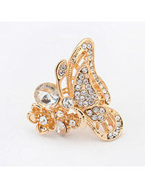 Cute Gold Color Diamond Decorated Butterfly Shape Design Alloy Korean Rings