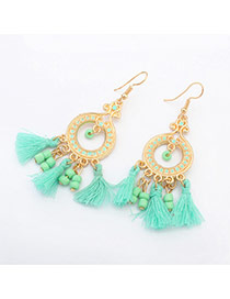 Trendy Light Green Tassel Pendant Decorated Simple Design Alloy Korean Earrings