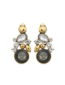 Fashion Gray Round Diamond Decorated Simple Design Alloy Stud Earrings