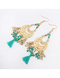 Vintage Green Tassel Pendant Decorated Crescent Moon Shape Design Alloy Korean Earrings