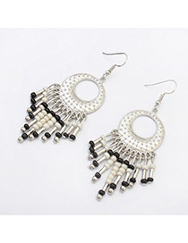 Vintage White Tassel Pendant Decorated Round Shape Design Alloy Korean Earrings