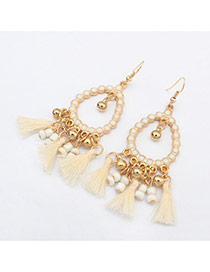 Vintage White Tassel Pendant Decorated Hollow Out Round Shape Design Alloy Korean Earrings
