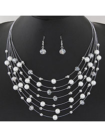 Bohemia White Pearl&crystal Decorated Multi-layer Necklace
