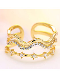 Fashion Gold Color Diamond Decorated Multilayer Waving Ring