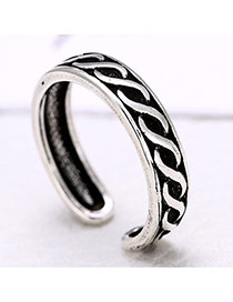 Retro Silver Color Wave Shape Decorated Openning Ring