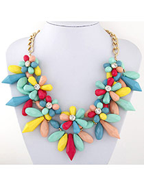 Exaggerate Multi-color Flower Shape Decorated Short Chain Necklace