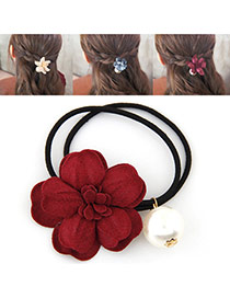 Fashion Red Pearl&flower Decorated Double Layer Hair Band Hair Hoop