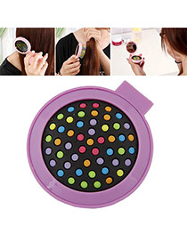 Fashion Purple Color Matching Decorated Round Shape Folding Comb