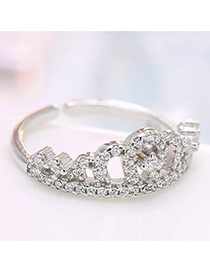Personalized Silver Color Crown&diamond Decorated Simple Opening Ring