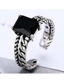 Retro Silver Color Aquare Gemstone Decorated Double Layer Opening Ring