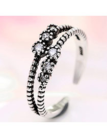 Elegant Silver Color Diamond Decorated Double Layer Opening Ring
