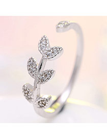 Delicate Silver Color Leaf Shape Design Opening Ring