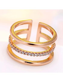 Fashion Rose Gold Diamond Decorated Multilayer Opening Ring