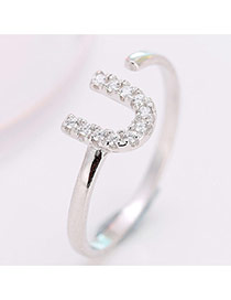 Elegant Silver Color U Letter And Diamond Decorated Simple Opening Ring
