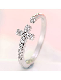 Fashion Silver Color Cross Decorated Opening Ring