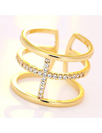 Fashion Gold Color Cross Decorated Multi-color Simple Opening Ring