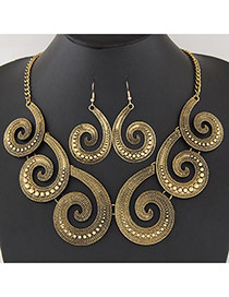 Vintage Gold Color Cloud Shape Decorated  Short Chain Jewerly Sets