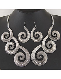 Vintage Silver Color Cloud Design Short Chain Jewerly Sets