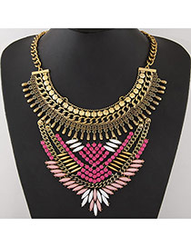 Vintage Multi-color Geometric Gemstone Decorated Short Chain Necklace