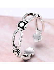 Fashion Silver Color Flower Decorated  Hollow Out Simple  Opening Ring