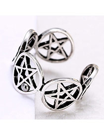 Personality Silver Color Pentagram Shape Decorated Simple Opening Ring
