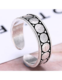 Personality Silver Color Round Shape Pattern Decorated Opening Ring