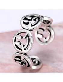Personality Silver Color Smiling Face Design Opening Ring