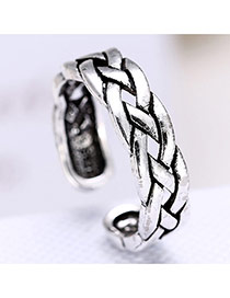 Vintage Anti-silver Metal Chain Weaving Decorated Opening Ring