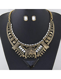 Exaggerated Gold Color Traingle Pendant Decorated Hollow Out Geometric Shape Jewelry Sets