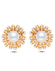 Fashion Gold Color Pearl Decorated Flower Shape Design Simple Earrings
