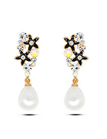 Fashion Black Flower&pearl Decorated Hollow Out Simple Earrings