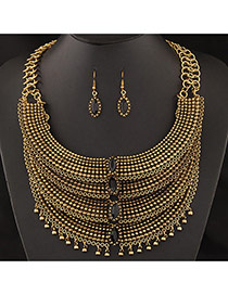 Exaggerated Gold Color Multilayer Pendant Decorated Short Chain Jewelry Sets