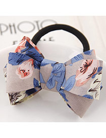 Sweet Blue Flower Pattern Bowknot Decorated Simple Hair Band