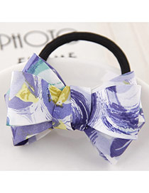 Sweet Purple Flower Pattern Bowknot Decorated Simple Hair Band